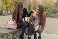Due amiche provano a scaldarsi con una bevanda calda nell'aria aperta Fotografie Stock Libere da Diritti