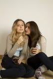 Due amici attraenti che bevono tè Fotografia Stock