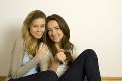 Due amici attraenti che bevono tè Fotografie Stock Libere da Diritti