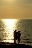 Due amici che esaminano tramonto Fotografie Stock Libere da Diritti