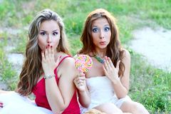 Due amici sorpresi Fotografia Stock Libera da Diritti