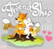 Due amici volpe e birra della bevanda del topo Immagini Stock Libere da Diritti
