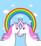 Due amore rosa dell'arcobaleno e dell'unicorno Simbolo della comunità di LGBT ventilatore Immagini Stock