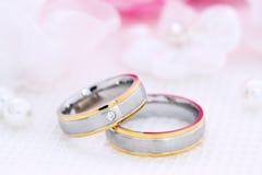 Due anelli di cerimonia nuziale Fotografie Stock