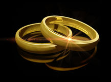 Due anelli di cerimonia nuziale dorata Immagini Stock Libere da Diritti
