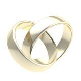 Due anelli di cerimonia nuziale dorata isolati Immagini Stock