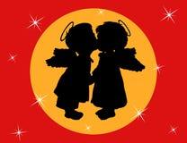 Due angeli con le ali illustrazione di stock