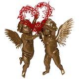 Due angeli con una corona sotto forma di un cuore illustrazione di stock