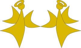 Due angeli dorati di natale illustrazione vettoriale