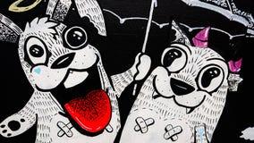 Due animali del fumetto di divertimento insieme immagine stock libera da diritti