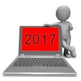 Due anni 2017 di mille e diciassette del carattere manifestazioni del computer portatile Immagini Stock Libere da Diritti