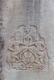 Due Apsaras sulla parete di Angkor Wat Fotografia Stock