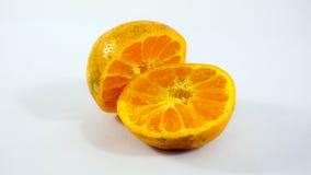 Due aranci su priorità bassa bianca Fotografie Stock Libere da Diritti