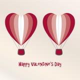 Due aria Baloons Valentine Day Card Fotografie Stock Libere da Diritti