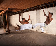 Due artisti marziali in Mid-air immagine stock
