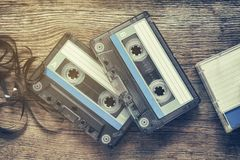 Due audio nastri a cassetta d'annata Immagine Stock Libera da Diritti