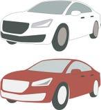 Due automobili, bianco e rossi di lusso Immagine Stock