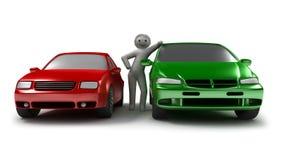 Due automobili ed uomini Fotografia Stock Libera da Diritti