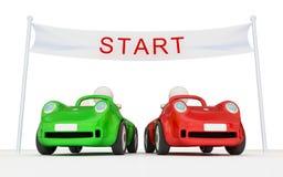 Due automobili su inizio della strada. Fotografia Stock