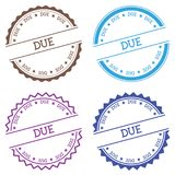 Due badge isolated on white background. Flat style round label with text. Circular emblem vector illustration Stock Images