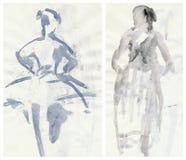 Due ballerine tenere, dissipanti illustrazione vettoriale