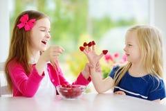 Due bambine graziose che mangiano i lamponi a casa Bambini svegli che godono della loro frutta fresca e bacche sane Immagine Stock Libera da Diritti