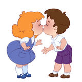 Due bambini bacianti Fotografia Stock