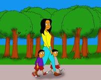 Due bambini che camminano con la loro madre Royalty Illustrazione gratis