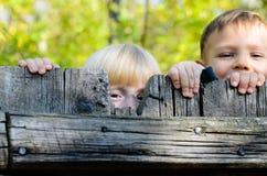 Due bambini che danno una occhiata sopra un recinto di legno immagini stock libere da diritti