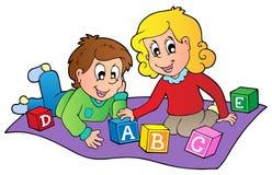Due bambini che giocano con i mattoni illustrazione vettoriale