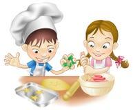 Due bambini che hanno divertimento nella cucina illustrazione vettoriale
