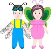 Due bambini che portano i costumi di Halloween Immagine Stock Libera da Diritti