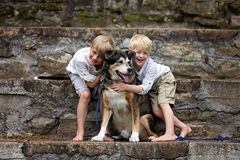 Due bambini felici di Little Boy stanno abbracciando amoroso il loro cane adottato della famiglia immagini stock