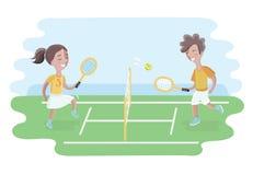 Due bambini giocano a tennis sulla corte Ragazze e ragazzo illustrazione di stock