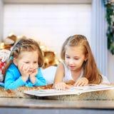 Due bambini hanno letto un libro Due sorelle Nuovo anno di concetto, Chris allegro immagine stock libera da diritti