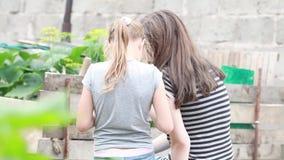 Due bambini si siedono con le loro parti posteriori alla macchina fotografica ed alla chiacchierata video d archivio