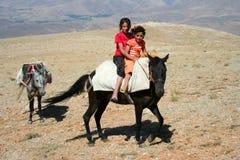 Due bambini sull'asino Fotografie Stock Libere da Diritti