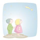 Due bambini vedono una stella cadente Fotografie Stock Libere da Diritti