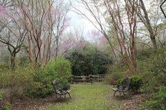 Due banchi del ferro battuto dietro alla piantagione del sud nel Mississippi rurale fotografia stock
