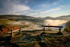 Due banchi in Misty Morning fotografia stock