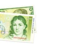 Due banconote da 5 marchi tedeschi a partire dai periodi differenti fotografia stock
