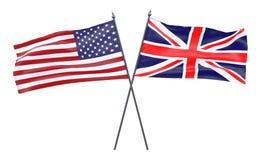Due bandiere attraversate Fotografie Stock Libere da Diritti