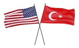 Due bandiere attraversate Immagini Stock Libere da Diritti