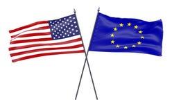 Due bandiere attraversate Fotografia Stock