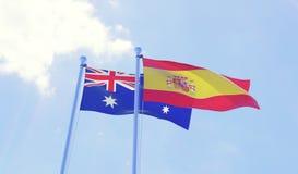 Due bandiere che ondeggiano contro il cielo blu Fotografia Stock Libera da Diritti