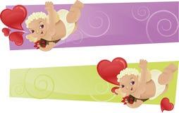 Due bandiere con i cupids/cherubs ed i cherubs Fotografia Stock Libera da Diritti