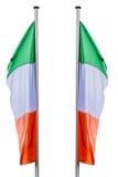 Due bandiere dell'Italia con l'asta della bandiera Fotografie Stock Libere da Diritti