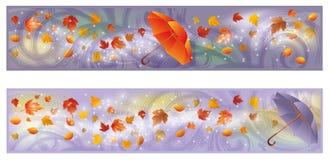 Due bandiere di autunno con l'ombrello Fotografia Stock Libera da Diritti