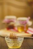 Due barattoli di miele e dei favi isolati su bianco Immagine Stock