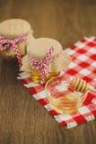Due barattoli di miele e dei favi isolati su bianco Fotografie Stock